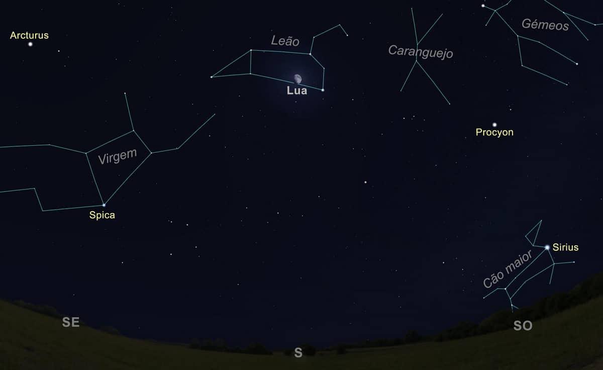 Figura 2 - A Lua na constelação de Leão, a passar a Sul, às 22h00 do dia 22 de abril de 2021